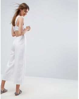 Minimal Linen Jumpsuit With Open Back