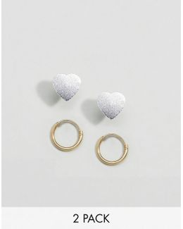 Sterling Silver Pack Of 2 9mm Hoop And Heart Stud Earrings