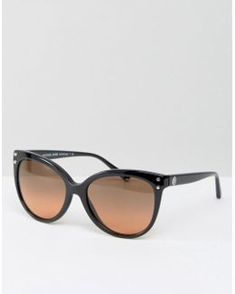 Classic Cateye Sunglasses With Contrast Lens