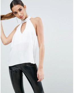 Plunge Halter Top With Choker Detail