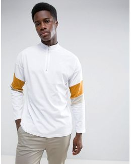Oversized Long Sleeve T-shirt With Zip Neck And Retro Panelling