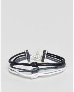 Triple Bracelet In Black Grey And White