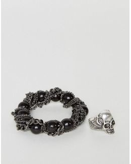 Bracelet And Ring Pack With Skulls