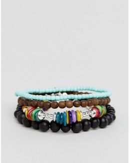 Multi Colored Beaded Bracelet Pack