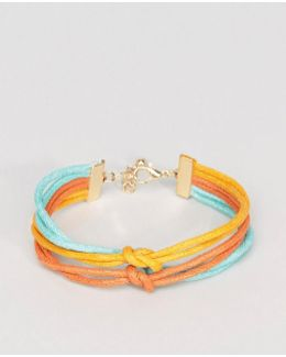 Triple Bracelet In Yellow Teal And Orange