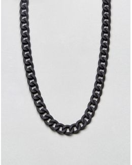 Chain Necklace In Black With Rubberised Finish