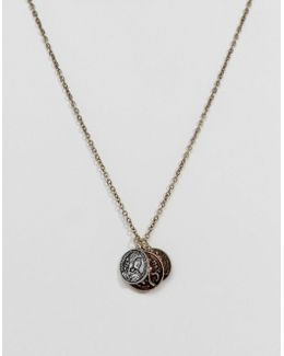 Necklace With Triple Coin Pendants In Mixed Finish