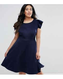 Plus Midi Skater Dress With Frill Sleeve
