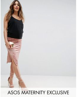 Over The Bump Velvet Midi Skirt With Thigh Split