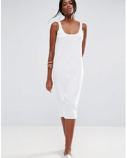 Ultimate Ribbed Midi Tank Dress With Raw Edge