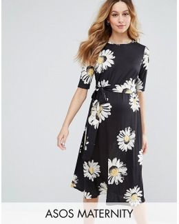 Midi Dress In Daisy Print