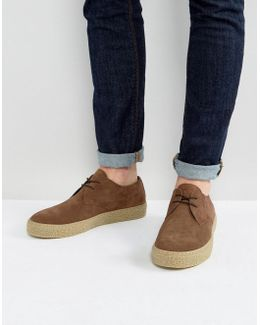 Lace Up Derby Shoes In Brown Suede With Gum Sole