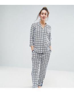 Maternity Traditional Tile Print Pyjama Shirt And Pant Set