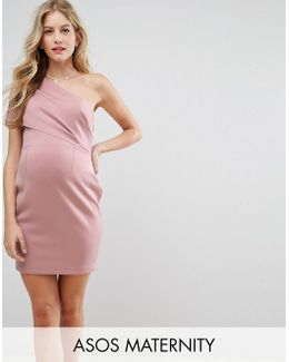 Maternity One Shoulder Scuba Deep Fold Mini Dress With Exposed Zip