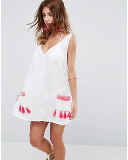 Beach Chuck On Dress With Neon Pocket Embroidery And Trim
