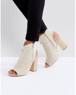 Stud Peeptoe Heeled Ankle Boots