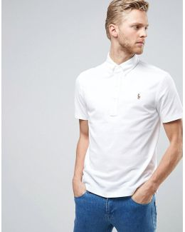 Stretch Pique Polo Slim Fit Buttondown In White
