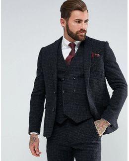 Slim Suit Jacket In 100% Wool Harris Tweed Herringbone In Charcoal