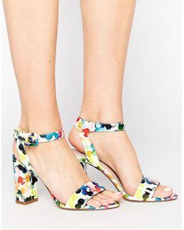 Blossom Print Block Heel Sandal