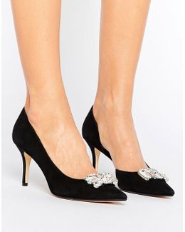 Tia Suede Jewelled Court Shoe