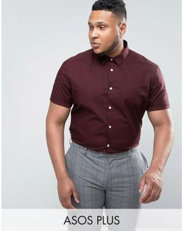 Plus Slim Shirt In Burgundy In Short Sleeves