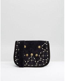 Suede Studded Saddle Bag