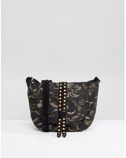 Studded Jacquard Mini Saddle Bag With Suede Strap
