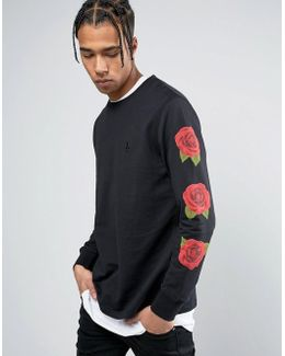 Long Sleeve T-shirt In Black With Rose Sleeve Print