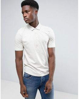 Polo Shirt With Stripe And Long Placket Detail And Curved Hem
