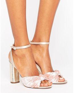 Blush Velvet Heeled Sandals