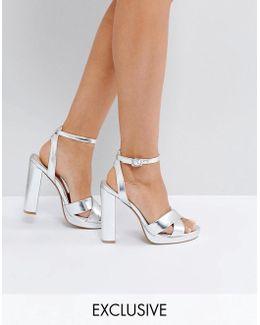 Nickles Silver Platform Heeled Sandals