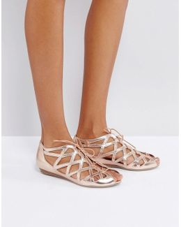 Leather Cutout Flat Sandals
