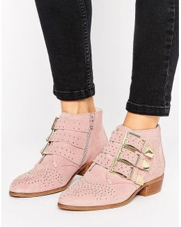 Stud Blush Suede Ankle Boots