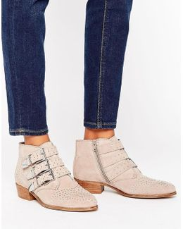 Stud Suede Ankle Boots
