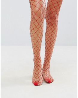 Oversized Fishnet Tights In Red
