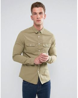 Slim Shirt With Double Pockets In Light Green