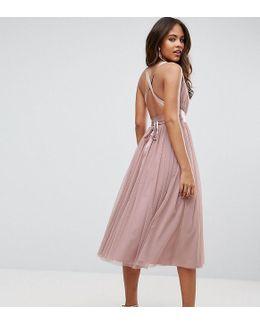 Premium Tulle Midi Prom Dress With Ribbon Ties