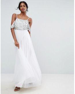 Cold Shoulder Floral Embellished Tulle Maxi Dress
