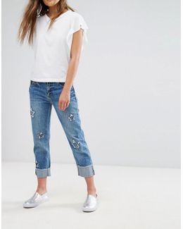 Star Detail Cropped Jeans