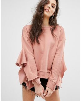Multi Frill Arm Sweatshirt