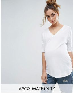Oversized T-shirt With V Neck And Dip Back In Rib