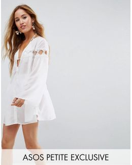 Beach Cover Up Shirt With Lattice Insert Detail