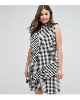 Gingham-print Frill Dress