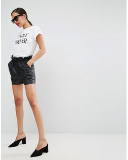 Leather Look Shorts With Paper Bag Waist