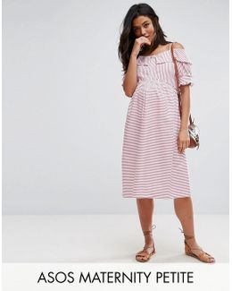 Candy Stripe Dress With Cold Shoulder