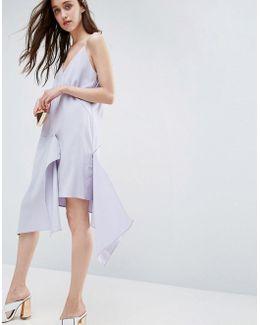 Raw Edge Asymmetric Hem Cami Dress