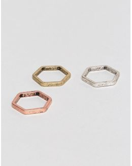 Hexagon Ring Pack In Mixed Metal Finish