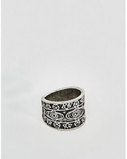 Ring With Emboss In Burnished Silver