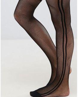 Fishnet Side Stripe Tights