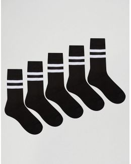 Sport Style Socks 5 Pack In Black With Stripes